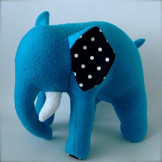 Plush Elephant - Teal Blue with White Polka Dots on Black