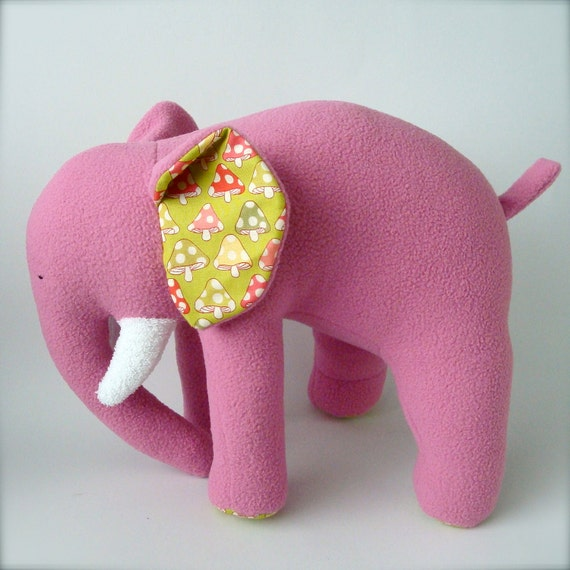 Plush Elephant - Magenta Pink with Colorful Polka Dotted Mushrooms
