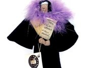 Funny Nun doll, theatrical woman, actress figure, woman with script, gift for theatre enthusiast, Sister Holly Wood--the actress