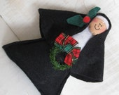 Nun doll Christmas ornament,  nun with holly, fun holiday decor, Catholic gift, ornament with wreath, wine bottle topper, package topper