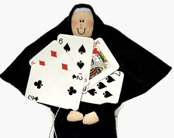 Nun doll, Catholic  gift, card player, card-playing woman, bridge player, gift for card player, Sister Delta Hand