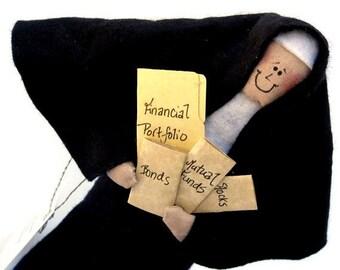 Catholic Gift Nun Doll - Catholic humor the financial advisor Sister Cher Holder