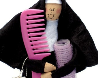 Nun doll Catholic gift hairstylist- 'Sister Curlotta'