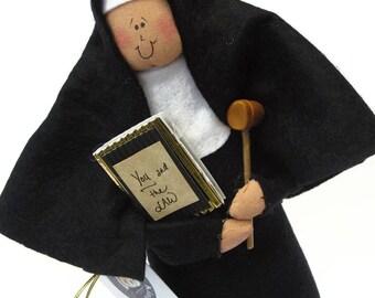 "Nun doll Catholic gift ""Sister Delia Justice"", the judge"