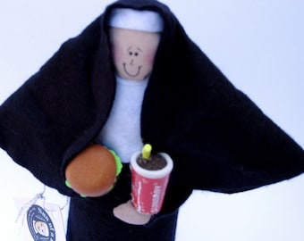 "Nun doll religious Catholic humor gift ""Sister Wendy McDonald""-the drive-thru queen"