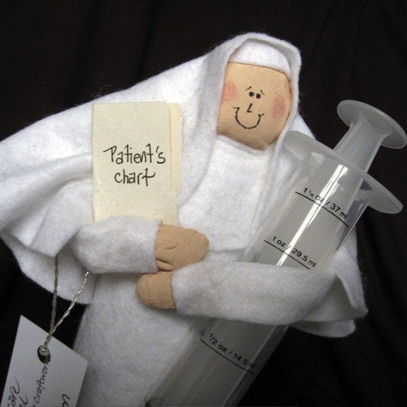 Nun doll nurse Catholic humor keepsake gift Sister Meddie Kate