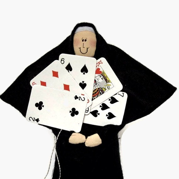 "Nun doll religious Catholic humor keepsake gift ""Sister Delta Hand"", the card playing nun"