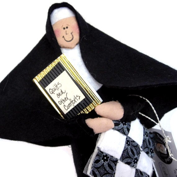 Nun doll Catholic gift quilting sister-Sister Maida Block