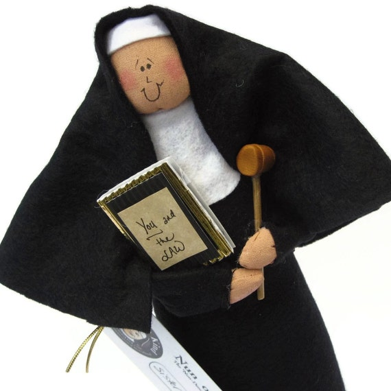 "Nun doll Catholic gift ""Sister Delia Justice"", the judge"