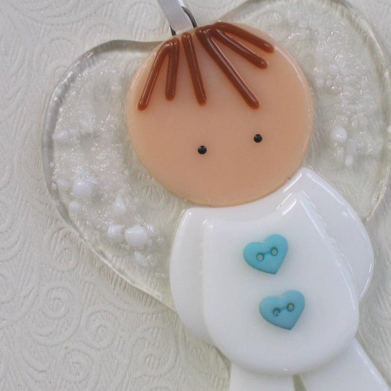 117 Angel Blue Christmas Ornament Baptism Shower: Little Boy Angel Fused Glass Ornament Brown Hair