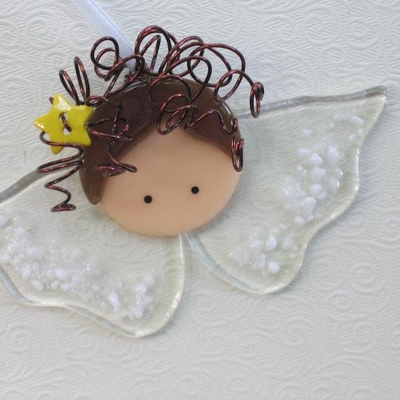 Ornament, Christmas, Angel, Guardian, Baby's room, Adoption, Baptism, Handmade, Glass, Cgg, Florence Niven