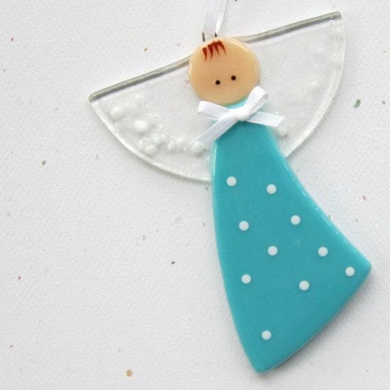 048 - Polka dot angel ornament, aqua, decoration, guardian angel, baptism, adoption, shower, tt team, cgge, etsylush, handmade