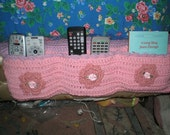 Remote Control Holder Hand Crochet in Girly Pink and Lavender with Flowers
