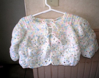 GRANNY's BABY SWEATER IN PASTELS -HAND CROCHETED FOR BOY OR GIRL