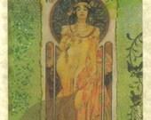 Golden Goddess Mucha Card