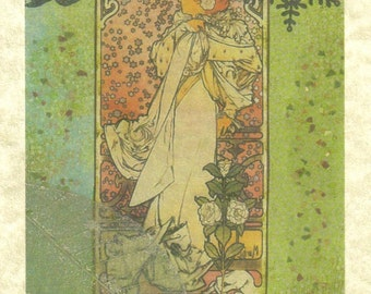 Spring is here Mucha Card