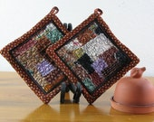 Rust and Brown Autumn Quilted Collage Applique Potholders Set of 2 PH109
