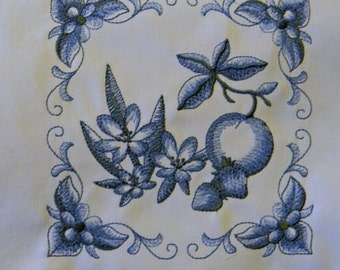 Quilt Blocks Blue Delft Flower and Fruit Embroidered Cotton  (5)
