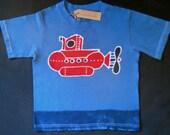 Submarine Batik Hand painted  Navy blue T-Shirt Size 2 to 12