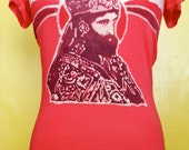 Batik tunic Haile Selassie Hand painted & hand dyed women red  Sz. L, XL