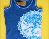 Shiva Nataraja Batik handmade blue tank top bio eco friendly women -Tops & Tees -