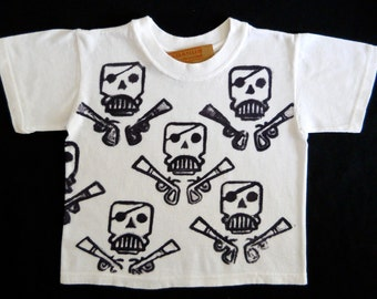 SALE kids organic cotton custom top pirate skull and pistols t shirt Boys Clothing, birthday gift  party batik Eco Kids friendly white