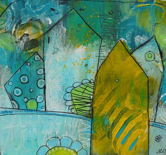 Blue Yellow and White Block Houses Graffiti style Acrylic Painting on wood 7 x 7 You Are Never Alone by Jodi Ohl