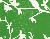 Portland, Oregon Woodblock Print Linocut Nature Leaves Birds Kelly Emerald Pacific Northwest Green Eco
