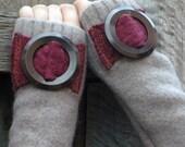 Tubeway Armies Arm Warmers - Mushroom with Big Vintage Bakelite Buckles