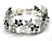 Black and White Multiflora Swarovski Crystal Bracelets with Flower Magnetic Clasp by CandyBead
