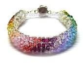 Swarovski Crystal Bracelet, Elegant Colorful Crystals - Rainbow Colors