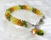 Swarovski bracelet, Luxurious Autumn Colors Swarovski Crystal Bracelet by CandyBead