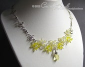 Swarovski Necklace, Light Yellow Topaz Flower Dancing Swarovski Crystal Silver Necklace