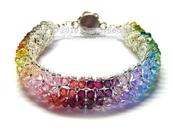 Rainbow bracelet; crystal bracelet; Swarovski bracelet; Glass bracelet;Swarovski Crystal Bracelet, Elegant Colorful Crystals