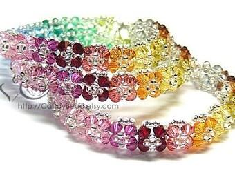 Swarovski bracelet, Bright Color Florals Crystal Bracelets - Sold Individually