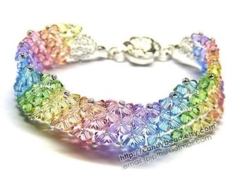 Simply Sweet Rainbow Swarovski Crystal Bracelet with Flower Magnetic Clasp by CandyBead