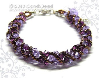 Purple and Lavender Twisty Swarovski Crystal Bracelet by CandyBead