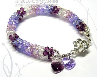 Luxurious Purple Shade Swarovski Crystal Bracelet by CandyBead