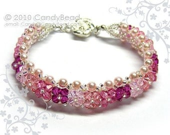 Crystal bracelet; Swarovski bracelet; Glass bracelet;Luxurious Rosaline and Pink Shade Swarovski Crystal Bracelet