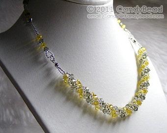 Black and Yellow Twisty Swarovski Crystal Necklace by CandyBead