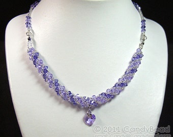 Purple and Lavender Twisty Swarovski Crystal Necklace by CandyBead