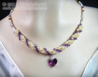 Swarovski necklace, Purple and Gold Twisty Swarovski Crystal Necklace by CandyBead