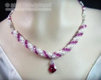 Swarovski necklace, Sweet Ruby Twisty Swarovski Crystal Necklace by CandyBead