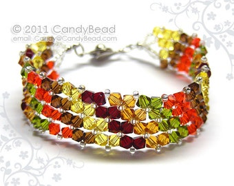 Swarovski Braclet, Simply Autumn Colors Shade Crystal Bracelet by CandyBead