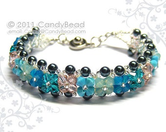 SALE - Swarovski Bracelet, Opal and Turquoise Shade Crystals bracelet by CandyBead