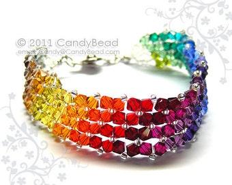 Rainbow bracelet; crystal bracelet; Swarovski bracelet; Glass bracelet;Simply Dark Rainbow Swarovski Crystal Bracelet