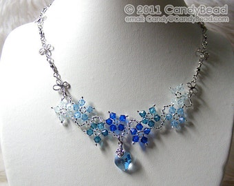 Swarovski Necklace, Blue Shade Flower Dancing Swarovski Crystal Silver Necklace