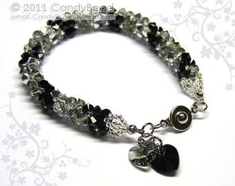 Swarovski bracelet, Luxurious Silver Black Swarovski Crystal Bracelet by CandyBead