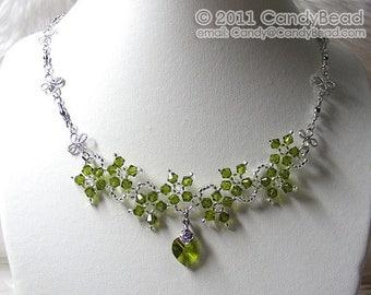 Swarovski Necklace, Green Olivine Flower Dancing Swarovski Crystal Silver Necklace