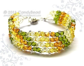 Swarovski bracelet, Simply Autumn Colors Swarovski Crystal Bracelet by CandyBead